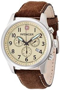 Wenger Terragraph Chrono 01.5431.105 - Reloj cronógrafo de cuarzo para hombre, correa de cuero color marrón (cronómetro, agujas luminiscentes) de Wenger