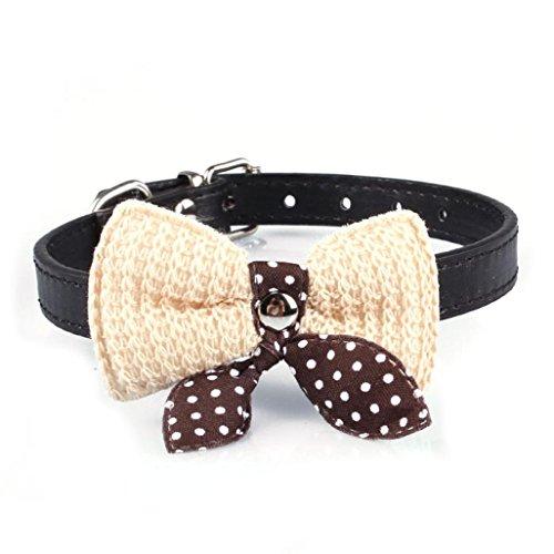 Quaan Wolle Bogen Bogen Haustier Kragen Strick Bowknot Justierbare PU Lederne Hunde Welpen Haustier Halsketten Halskette(Schwarz,XS)