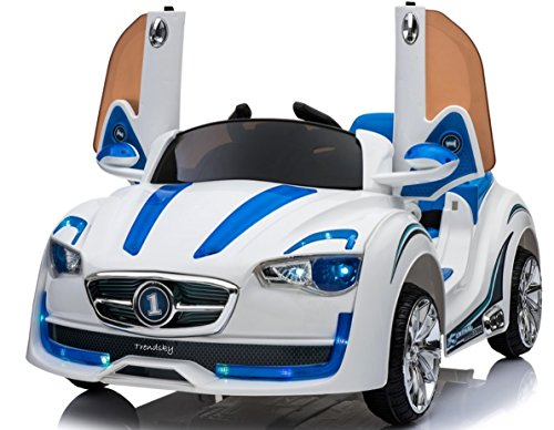 Trendsky Sportwagen Kinderauto Elektrisches 12V Kinderfahrzeug Elektronik Kinder Akku Sport LED Auto 2X Motor