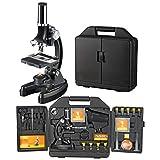 National Geographic beginners microscoop 300-1200x met verlichting op batterijen, uitgebreide accessoires, eenvoudige handleiding en praktische transportkoffer, zwart