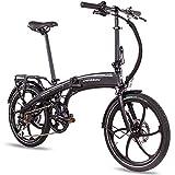 CHRISSON 20 Zoll E-Bike Klapprad eFolder schwarz - E-Faltrad mit Aikema Nabenmotor 250W, 36V, 30 Nm, Pedelec Faltrad für Damen und Herren, praktisches Elektro Klapprad