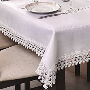 120x220 Rechteckig creme Tischdecke Gipüre fleckenabweisend Lotus Effekt elegant praktisch außergewöhnlich klassisch