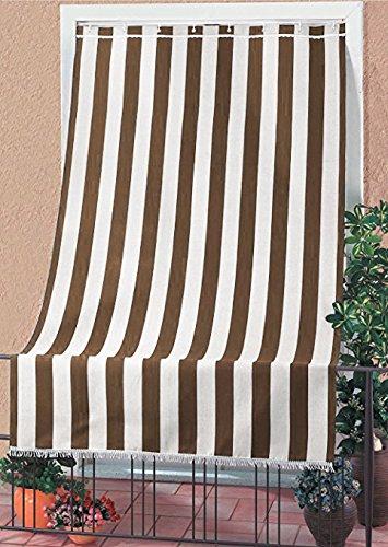 Sonnenschutzmarkise, strapazierfähig für Außenbereich, mit Ringen, waschbar, mit Fransen und Spitze,gelb, braun