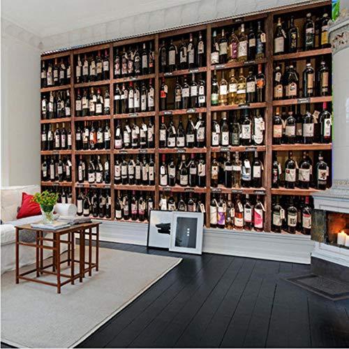 hhlwl Europäischen Stil 3D Wallpaper Moderne Rotweinflaschen