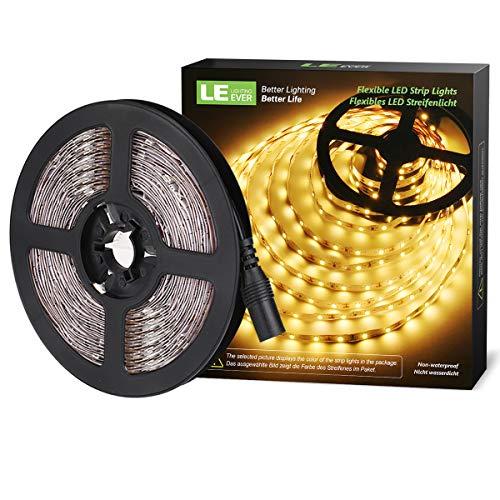 LE LED Streifen 12V Selbstklebend, 5m Leiste mit 300 Stück 3528 LEDs, 3000 Kelvin 1200 Lumen Warmweiß DIY Flexibel LED Band für Innen Heim Küche usw
