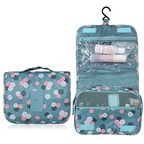 Emwel appeso toiletry organizer travel trousse per donne e uomini - perfetto per viaggio / all'aperto (fiore blu cielo)