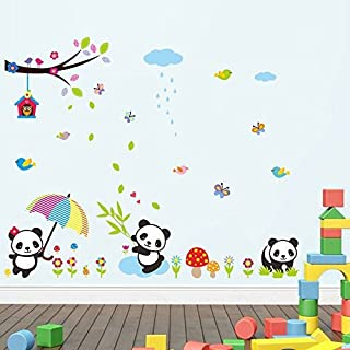 Lovely Panda Birds flowers and Bamboo Wall Stickers Removable Wall Vinly Decal Decor for Girls and Boys Nursery Room Children's Bedroom by AWAKINK