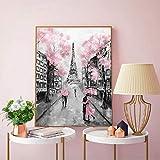Romantische Stadt Paar Paris Tower abstrakte Landschaft Ölgemälde Poster Wohnzimmer Leinwand Gemälde rahmenlose Kern 50X70cm