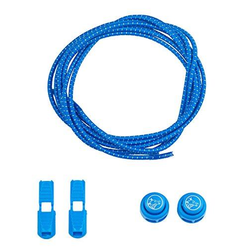 Wolfpack Fitness ® Schnellschnürsystem 120cm Länge- schleifenloses Schuhbinden mit großer Farbauswahl – hochwertige elastische Schnürsenkel für optimalen Tragekomfort (Blau)