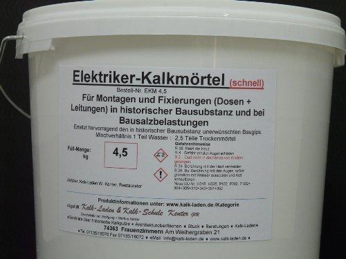 Elektriker-Kalkmörtel (Schnell). Fixiermörtel / Montagemörtel anstelle unerwünschten Baugips in historischer Bausubstanz. 4 kg