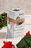 LaModaHome 100% Holz-(7,9x 7,9cm 18cm)–Kerzenhalter I Love You Romantische Liebe Herz Kerze–Kerzenhalter für Verwenden Oder als Decor, Geschenke für Hochzeit, Party, Haus, Spa, Aromatherapie