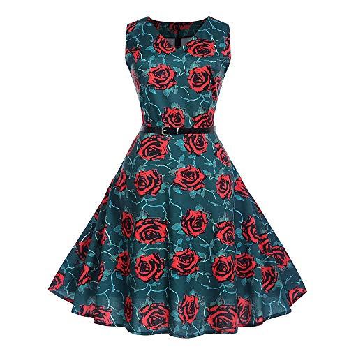 Frauen Weinlese Sleeveless O Ansatz, der Partei Abschlussball Schwingen Kleid druckt Malloom Vintage Kleid mädchen Weihnachten