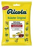 Ricola Schweizer Kräuterzucker ohne Zucker, Schweizer Kräuterbonbons - 75g - 4x