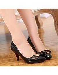 GAOLIM Automne Unique Chaussures à pointe Printemps talons hauts Chaussures Femme avec Noir Fin Woman, Orange, 38