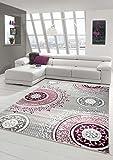 Designer Teppich Moderner Teppich Wohnzimmer Teppich Klassisch gemustert Kreis Ornamente in Pink Lila Grau Creme Größe 160x230 cm