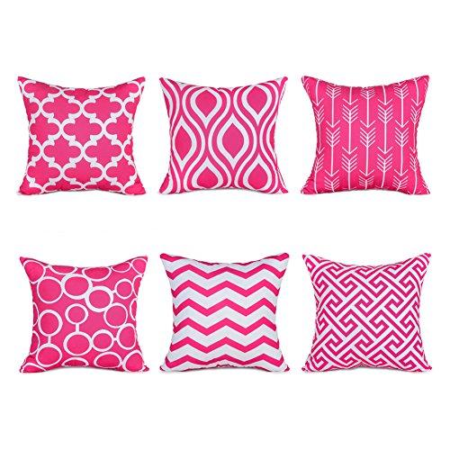 Topfinel 6er Set Kissenbezüge 45x45 cm Qualitäts Kissenhüllen in Segeltuch mit Geometrischen Mustern für Sofa Auto Terrasse...