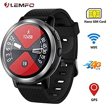 LEMFO LEM8 - Reloj Inteligente Android 7.1.1 4G, 2 MP, cámara de Reloj, teléfono MT6739, 2 GB + 16 GB, batería de 580 mAh Bluetooth/GPS/Monitor de ...