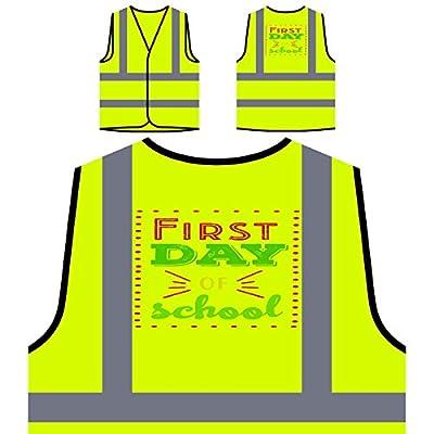Erster Schultag 1 Personalisierte High Visibility Gelbe Sicherheitsjacke Weste s875v