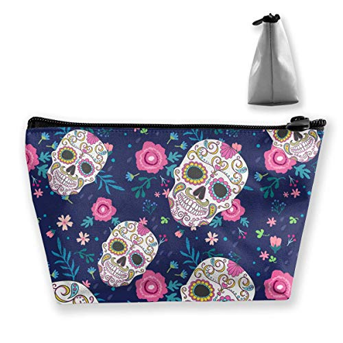 (Candy Skull Flowers Rose Medium Cosmetic Makeup Bag Travel Pouch Carry Case)