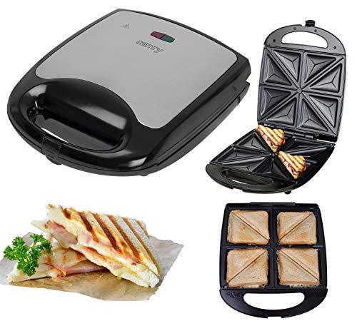 XXL 4er Sandwichmaker | Edelstahl Sandwichtoaster | Sandwich Maker | Waffeleisen | Paninitoaster | Elektrogrill | 1500 Watt | 8 Sandwichecken | Antihaftbeschichtung | Cool-Touch-Gehäuse | Thermostat