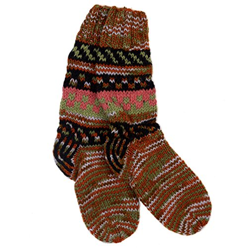Funky Hand Knitted Winter Woollen Fuji Socks - Orange & Khaki