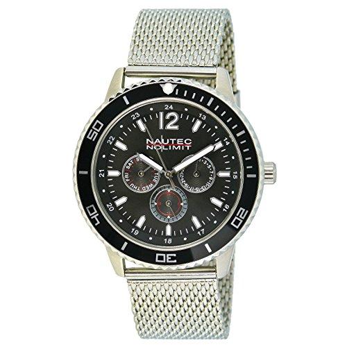 No limit Nautec hombre-reloj analógico de cuarzo de acero inoxidable Glacier GLAC-QZ-STM2-ST-BK