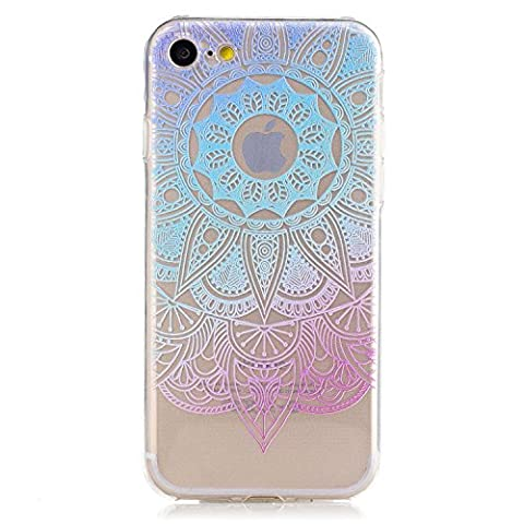 iphone 7 Clear Case,Transparent Rubber Case for iphone 7,Meet de Clear Shock Proof Soft Durable Scratch Resistant Jelly Rubber TPU Protective Case Cover Skin Shell for iphone 7 with Beautiful Colourful Pattern Design-Blue mandala