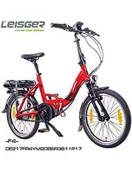 "Bicicleta Plegable Eléctrica, Leisger F4 20"" , 36V 11Ah Celdas Panasonic, Rojo brillante con motor central"