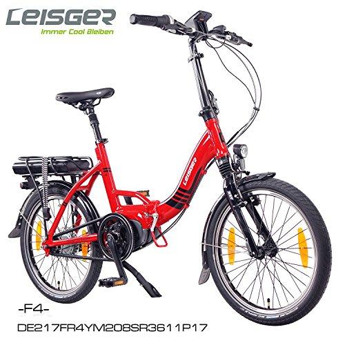 "Leisger ® F4 20"" Zoll Elektrofahrrad, E-Faltrad,Klappard, E-Bike, Pedelec, 36V 250W Li-Ion Akku mit 11Ah PANASONIC Zellen, Bafang MAX Display & Mittelmotor in glänzend rot"