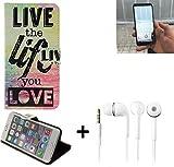 K-S-Trade Für Energizer Powermax P600S Schutz Hülle 360° Wallet Case ''live Life Love'' Schutzhülle Handy Hülle Handyhülle Cover Tasche Etui inkl. ohrstöpsel (1 STK)
