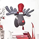 Valery Madelyn Christmas Reindeer Head Wall Decoration Fabric Red Felt Nose Rudolph Cartoon Funny Ornament for Xmas Wedding Birthday Party 35 * 46 * 25cm with Hook On Back
