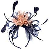 Azul marino y naranja salmón Nude pelo diadema tocado para bodas y carreras de Ascot Ladies