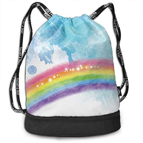 Juzijiang Hand-Painted Rainbow Fashion Beam Mouth Shoulder Bag Travel Drawstring Backpack Shoulder for Unisex Blue Hand Painted Muslin