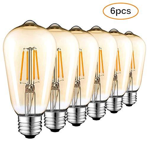 Lemonbest 6 Pack Vintage Light Bulbs Bombilla Edison LED Filamento E27 Bombillas antiguas 4W regulables Bombillas decorativas para iluminación industrial retro