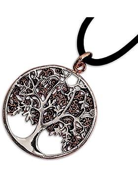 Anhänger Baum des Lebens Keltischer Bronze Schmuck mit Lederband Schmucksäckchen und Karte - Heilung - Bicolor...