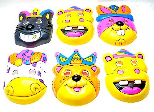 6 x Crazy Tier Masken für Kinder - Verkleidungs Party Set by schenkfix (Crazy Bären Kostüm)