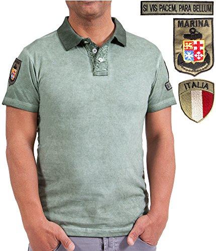 Maglietta polo jersey vintage marina, maglia con colletto militare