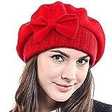 Frauen Barette 100% Wolle Baskenmützen Schicke Winter Mütze HY022 (Rot)