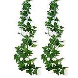 2 st. Kunstpflanzen Anhänger Girlande 2.5m künstlichen grünen Efeu Blätter Weinstock Dekoration