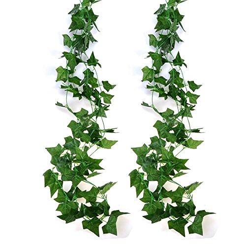 2 Stück Efeugirlande Künstlich Hängende Rebe 2.5M, 56 stücke der blätter Efeu Efeuranke Kunstblumen für Hochzeit Party Garten Festival Dekorationen Wanddekoration