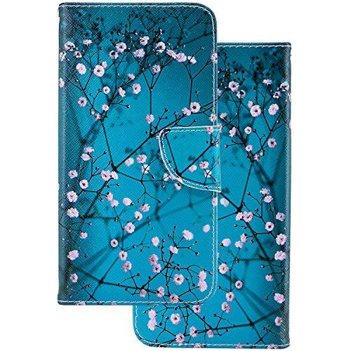 LEMORRY Sony Xperia XA1 Etui Gaufré Cuir Portefeuille Pochette Protecteur Magnétique Fente Carte Silicone TPU Housse Cover Coque pour Sony XA1 (G3121 / G3112), Fleur de Cerisier