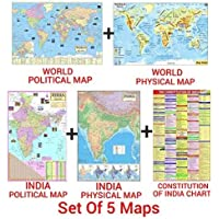 India & World Map ( Both Political & Physical ) & India Constitution Chart | Set Of 5 | Map Size - 70X100 cm | Use For…