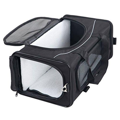 Petsfit Faltbare Transportboxfür Haustiere, Fluggesellschaft zugelassen, Schwarze Haustiertragetasche, Zwei Platzierung-Methode in Flugzeugen, 47cm x 24cm x 31cm