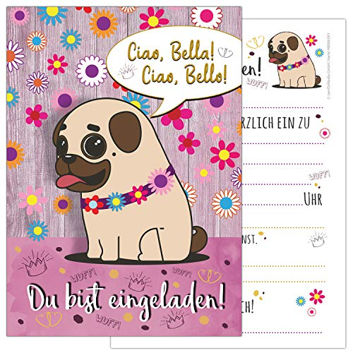 mit einem niedlichen, süßen Mops, Blümchen und Krönchen - Kindergeburtstag-Einladungskarten für die Geburtstags-Party in violett, rosa, gold und zartem pastel, ideal für Mädchen ()