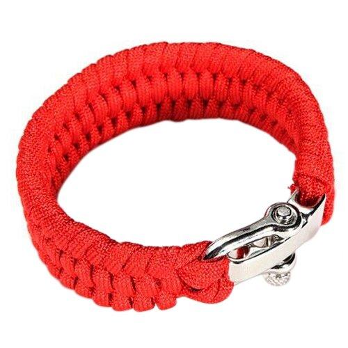 Dcolor 7 Corde 550 Bracelet PARACORDE Parachute Tressage Reglable Boucle Acier Survie rouge