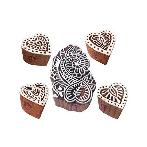h Muster Herz und Damast Blöcke Drucken Holz Stempel (Set von 5) ()