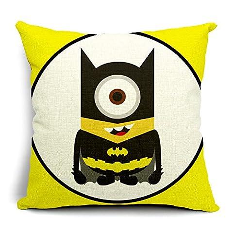 Poens Dream Housse de Coussin, Cute Batman Funny Cotton Linen Decorative Throw Pillow Case Cushion Cover, 17.7 x 17.7inches