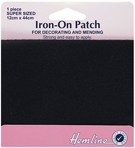 hemline-h690l-blk-patch-reinforce-black-iron-on-repair-fabric-12x44cm