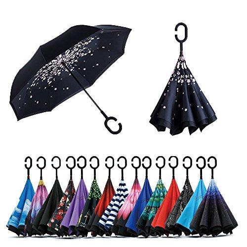 Jooayou Parapluie Inversé, Anti-UV Double Couche Coupe-Vent Parapluie, Mains Libres poignée en forme C Parapluie (Cherry Flower)