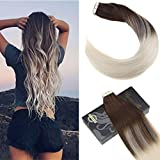 Ugeat 20 Zoll Remy Tape in Real Echthaar Extensions Farbe #4 Dunkelbraun mit Farbe #60 Gebleichtes Blond 2.5g/pcs 50g/pack Skin Weft Ombre Tape in Extensions Echthaar
